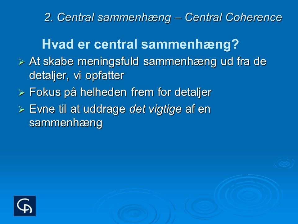 2. Central sammenhæng – Central Coherence