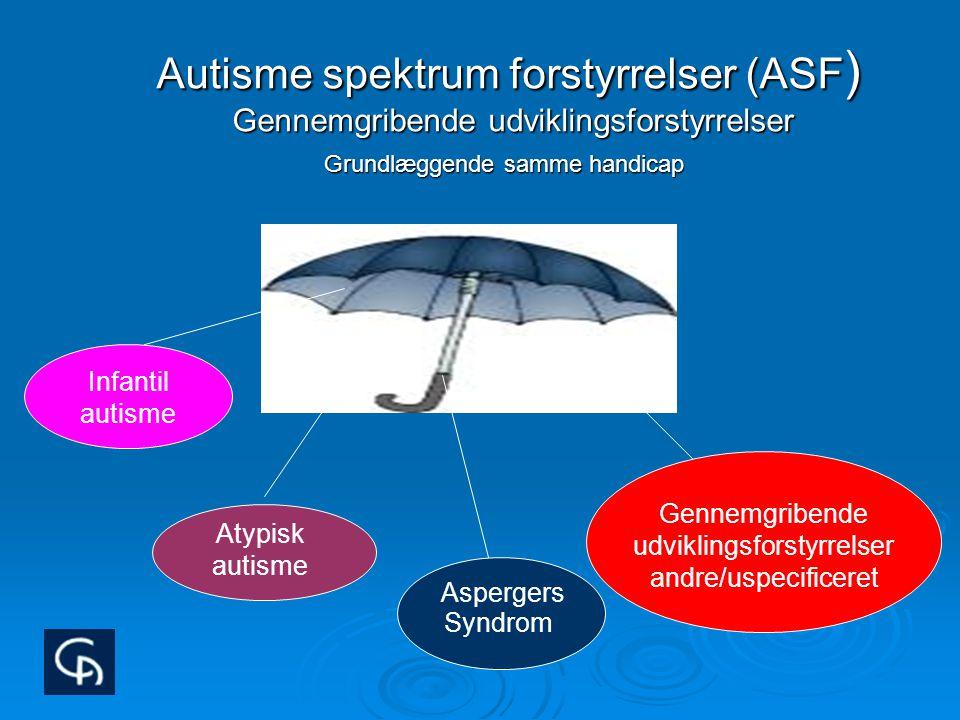 Autisme spektrum forstyrrelser (ASF) Gennemgribende udviklingsforstyrrelser