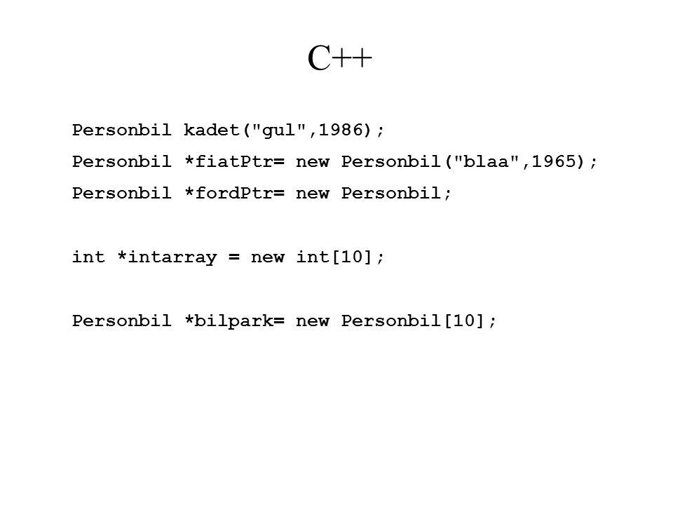 C++ Personbil kadet( gul ,1986);