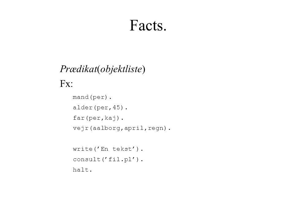 Facts. Prædikat(objektliste) Fx: mand(per). alder(per,45).