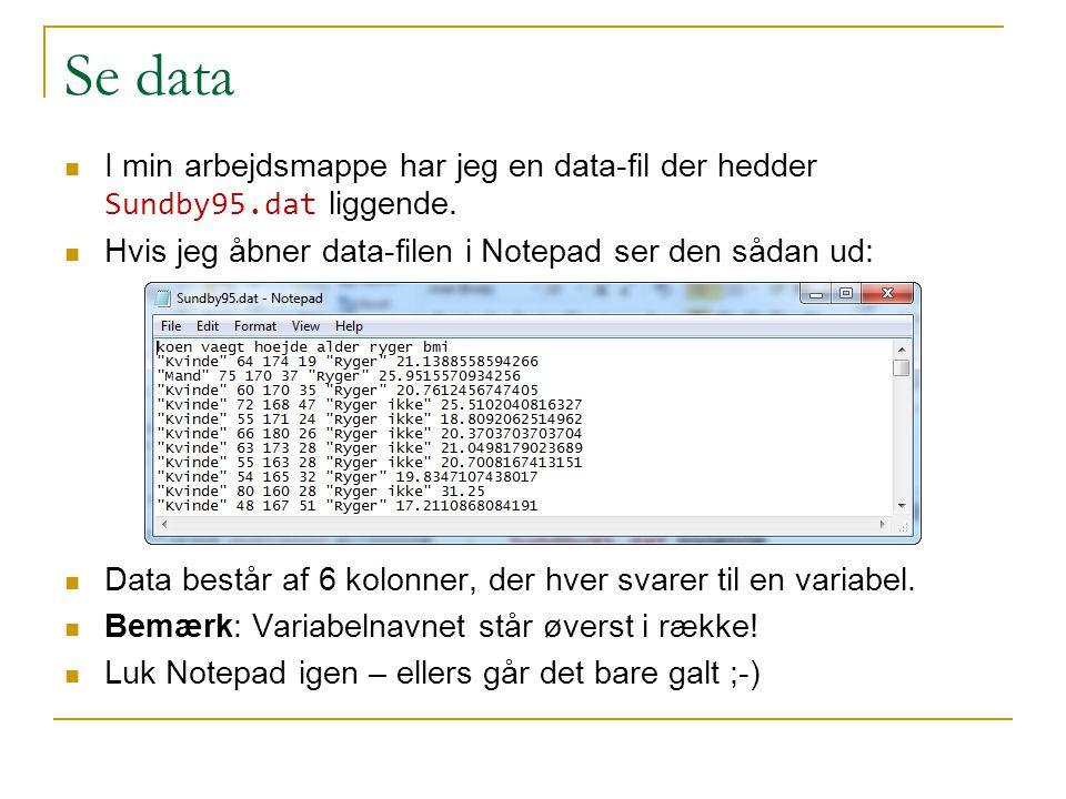 Se data I min arbejdsmappe har jeg en data-fil der hedder Sundby95.dat liggende. Hvis jeg åbner data-filen i Notepad ser den sådan ud: