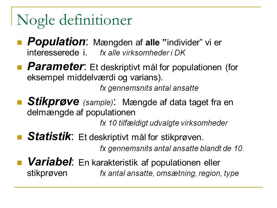 Nogle definitioner Population: Mængden af alle individer vi er interesserede i. fx alle virksomheder i DK.