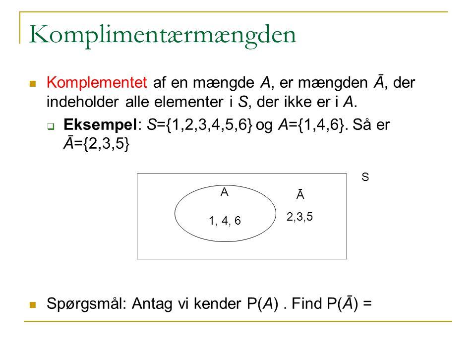 Komplimentærmængden Komplementet af en mængde A, er mængden Ā, der indeholder alle elementer i S, der ikke er i A.