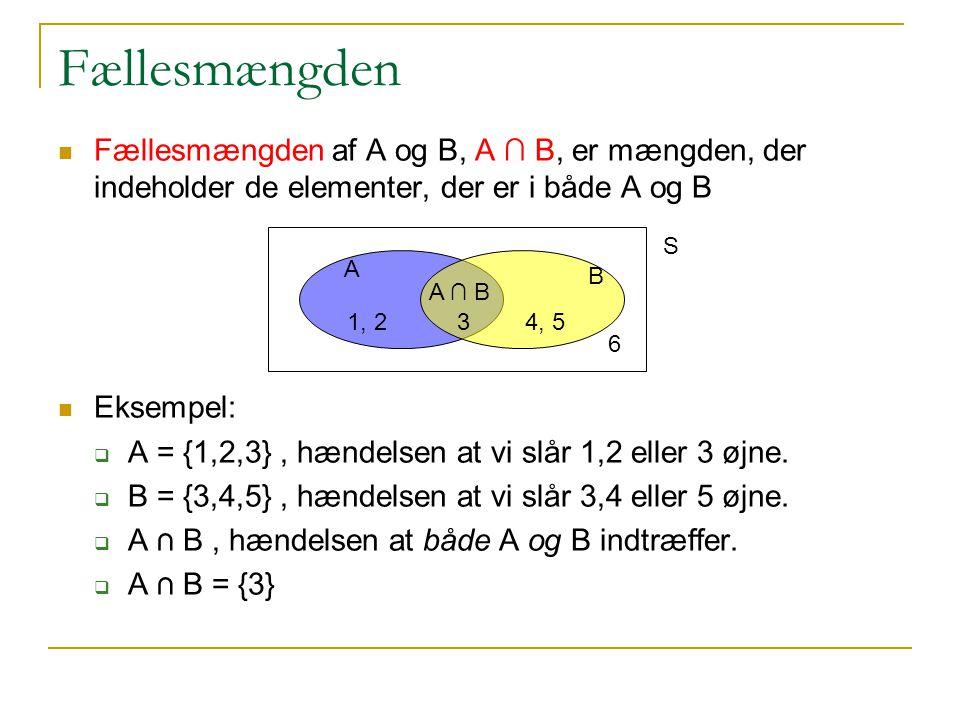 Fællesmængden Fællesmængden af A og B, A ∩ B, er mængden, der indeholder de elementer, der er i både A og B.