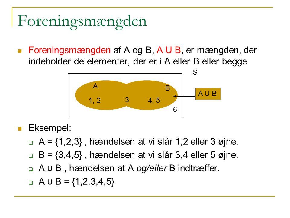 Foreningsmængden Foreningsmængden af A og B, A U B, er mængden, der indeholder de elementer, der er i A eller B eller begge.