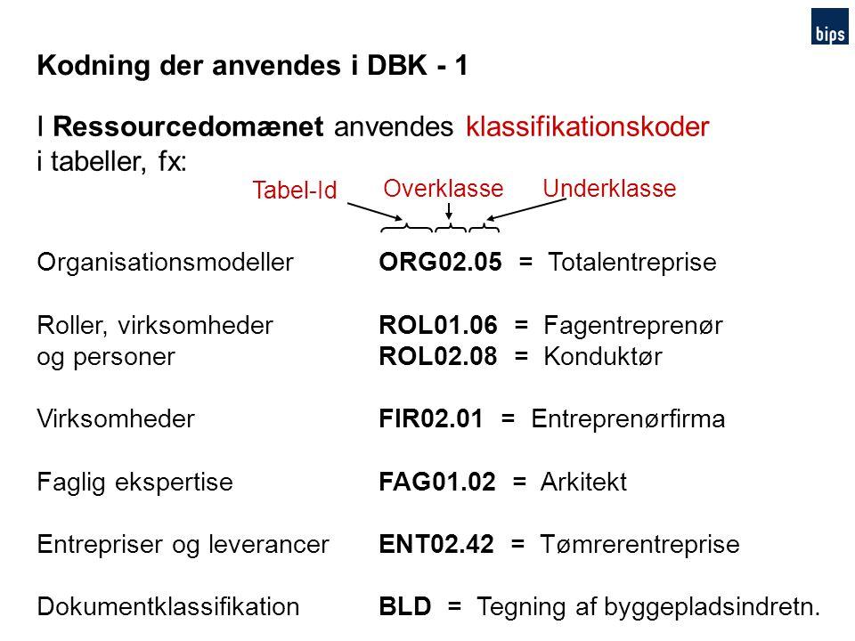 Kodning der anvendes i DBK - 1