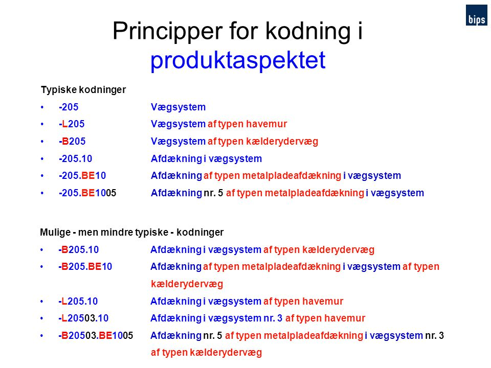 Principper for kodning i produktaspektet