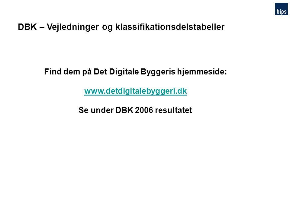 DBK – Vejledninger og klassifikationsdelstabeller