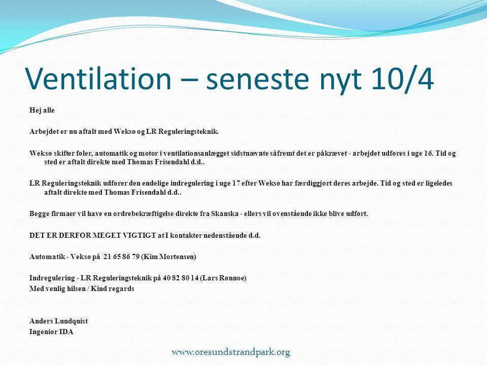 Ventilation – seneste nyt 10/4