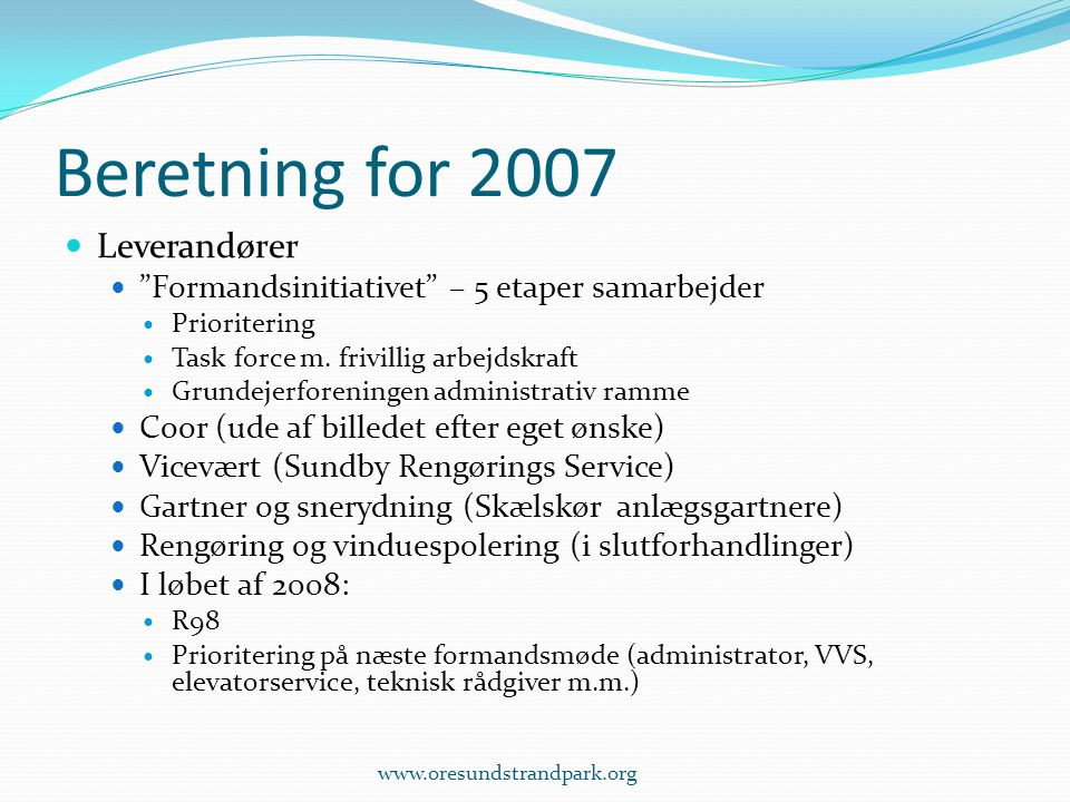 Beretning for 2007 Leverandører