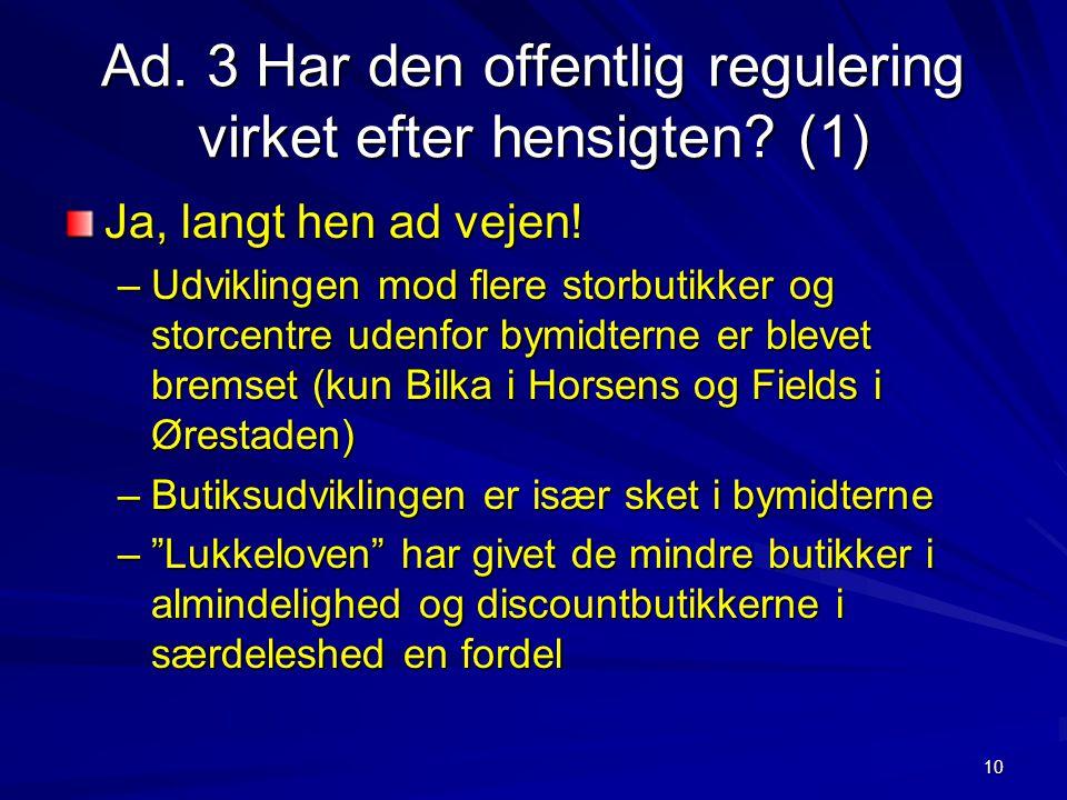 Ad. 3 Har den offentlig regulering virket efter hensigten (1)