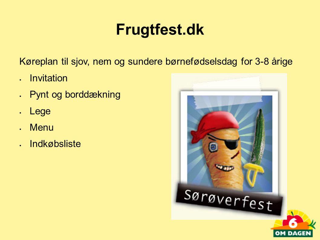 Frugtfest.dk Køreplan til sjov, nem og sundere børnefødselsdag for 3-8 årige. Invitation. Pynt og borddækning.