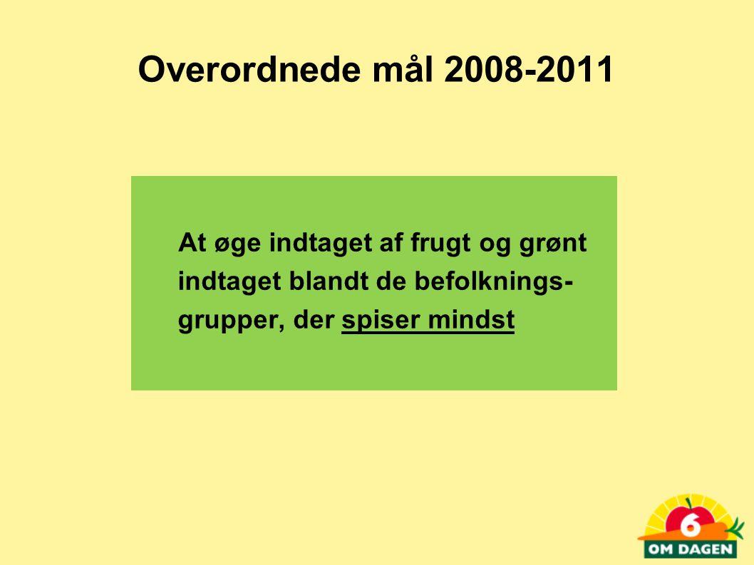 Overordnede mål 2008-2011 At øge indtaget af frugt og grønt indtaget blandt de befolknings- grupper, der spiser mindst.