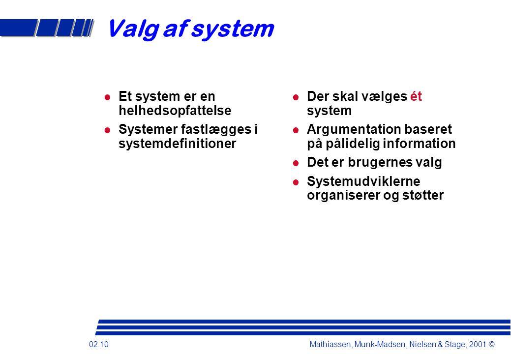 Valg af system Et system er en helhedsopfattelse