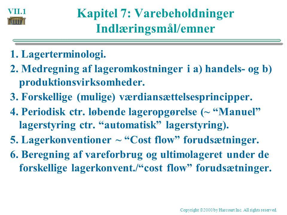 Kapitel 7: Varebeholdninger Indlæringsmål/emner