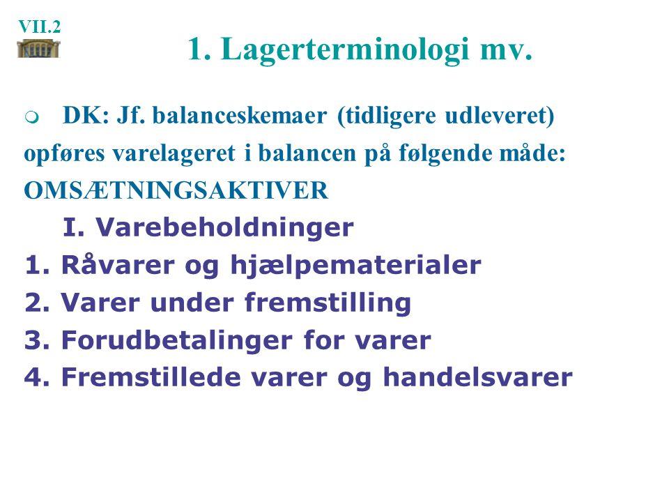 1. Lagerterminologi mv. DK: Jf. balanceskemaer (tidligere udleveret)