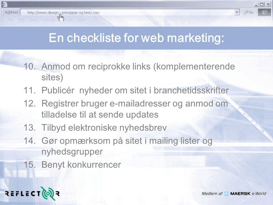 En checkliste for web marketing: