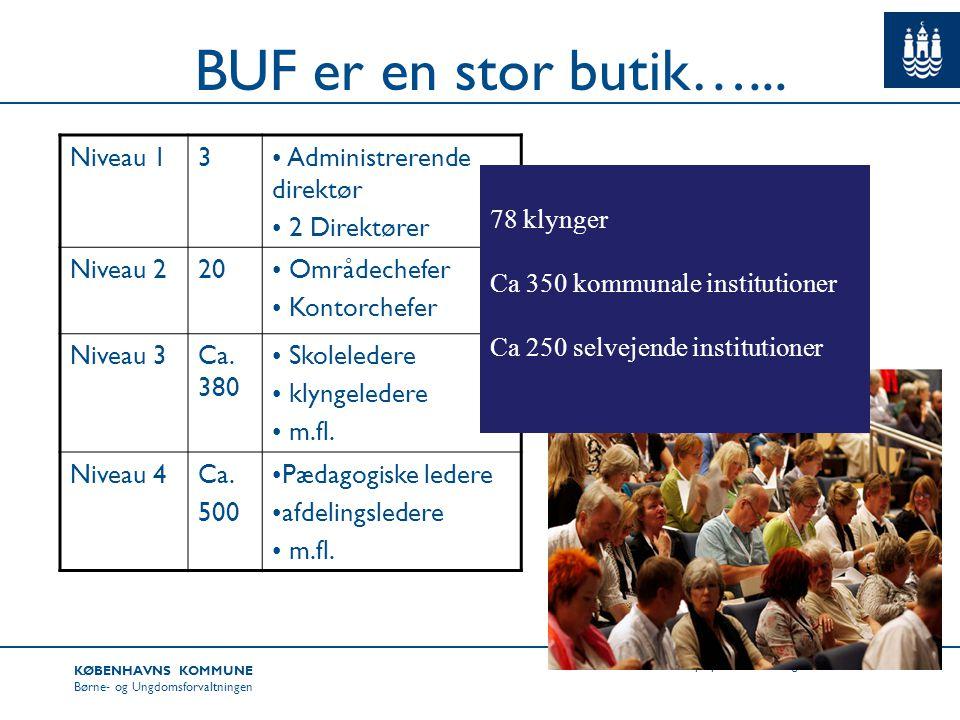 BUF er en stor butik…... Niveau 1 3 Administrerende direktør