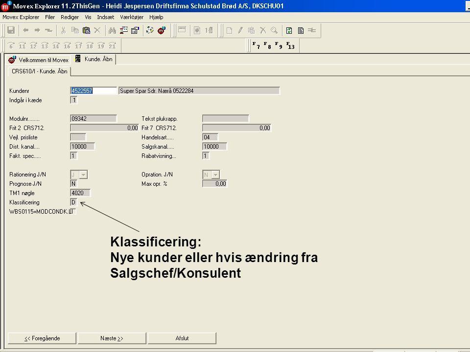 Vedligeholder klassificering i movex