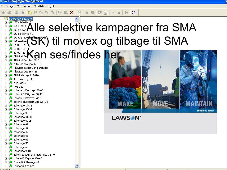 Alle selektive kampagner fra SMA (SK) til movex og tilbage til SMA