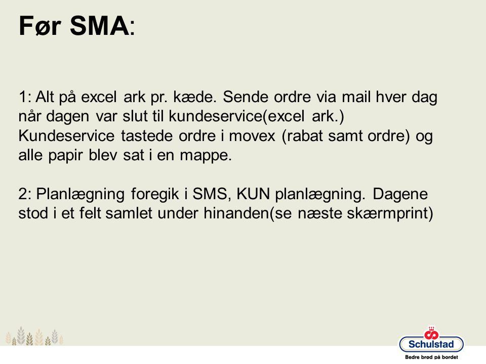 Før SMA: 1: Alt på excel ark pr. kæde. Sende ordre via mail hver dag når dagen var slut til kundeservice(excel ark.)