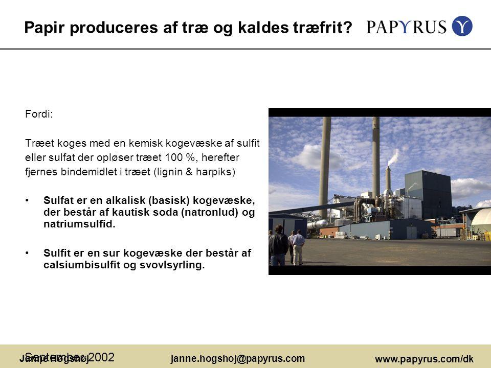 Papir produceres af træ og kaldes træfrit