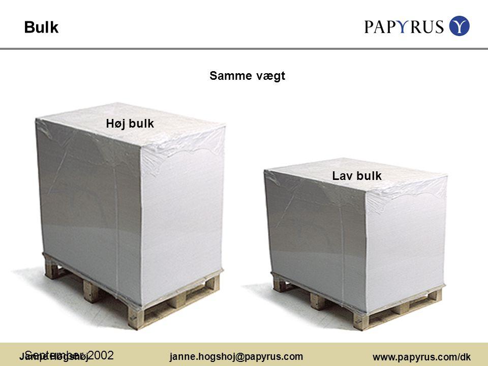 Bulk Samme vægt Høj bulk Lav bulk September 2002