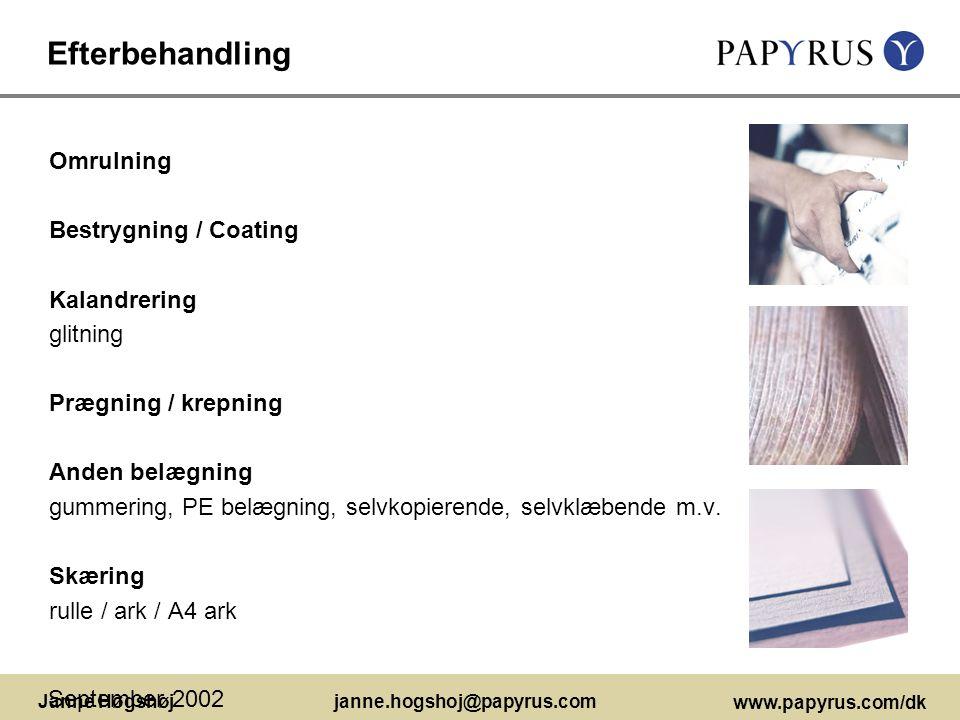 Efterbehandling Omrulning Bestrygning / Coating Kalandrering glitning