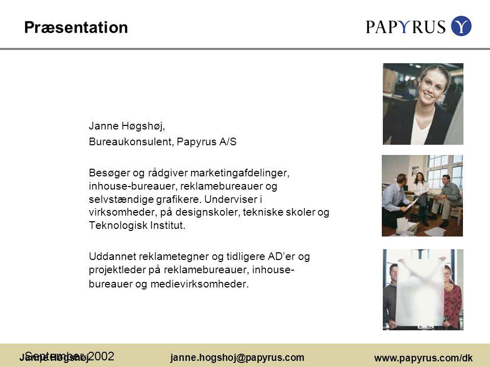 Præsentation September 2002 Janne Høgshøj,