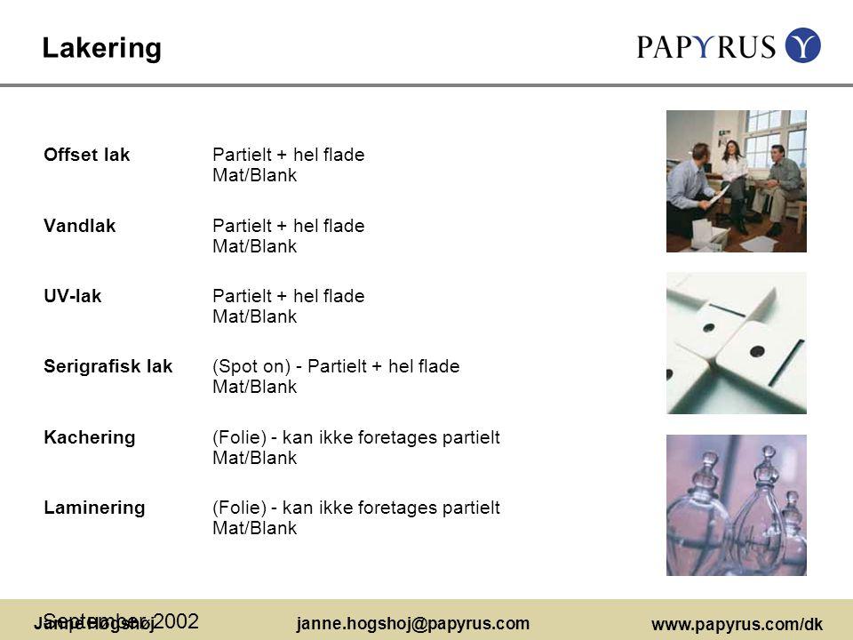 Lakering September 2002 Offset lak Partielt + hel flade Mat/Blank