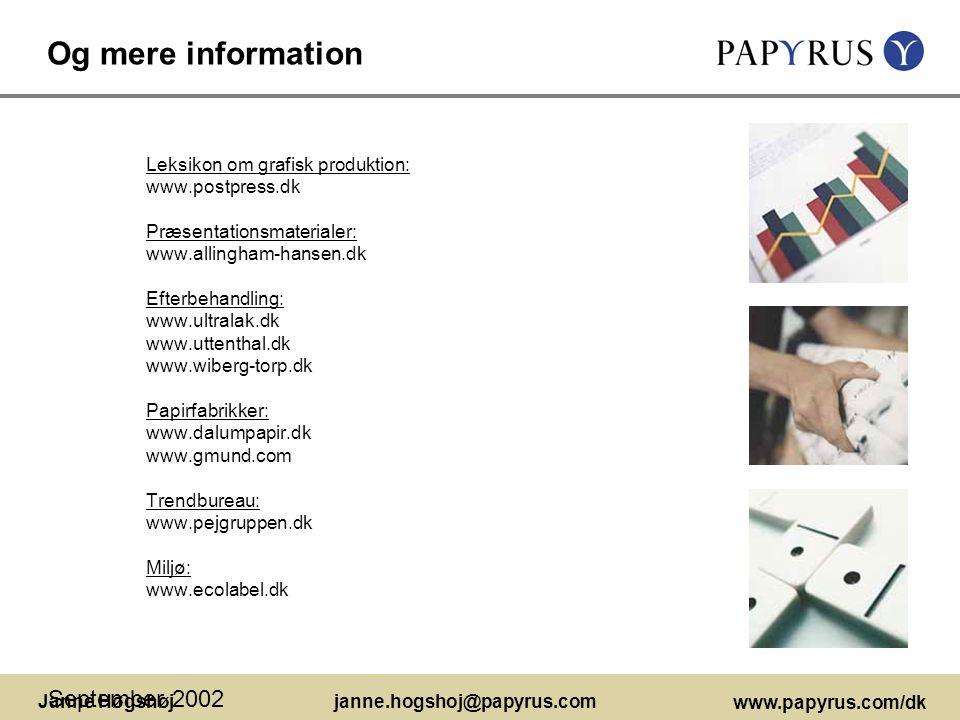 Og mere information September 2002 Leksikon om grafisk produktion: