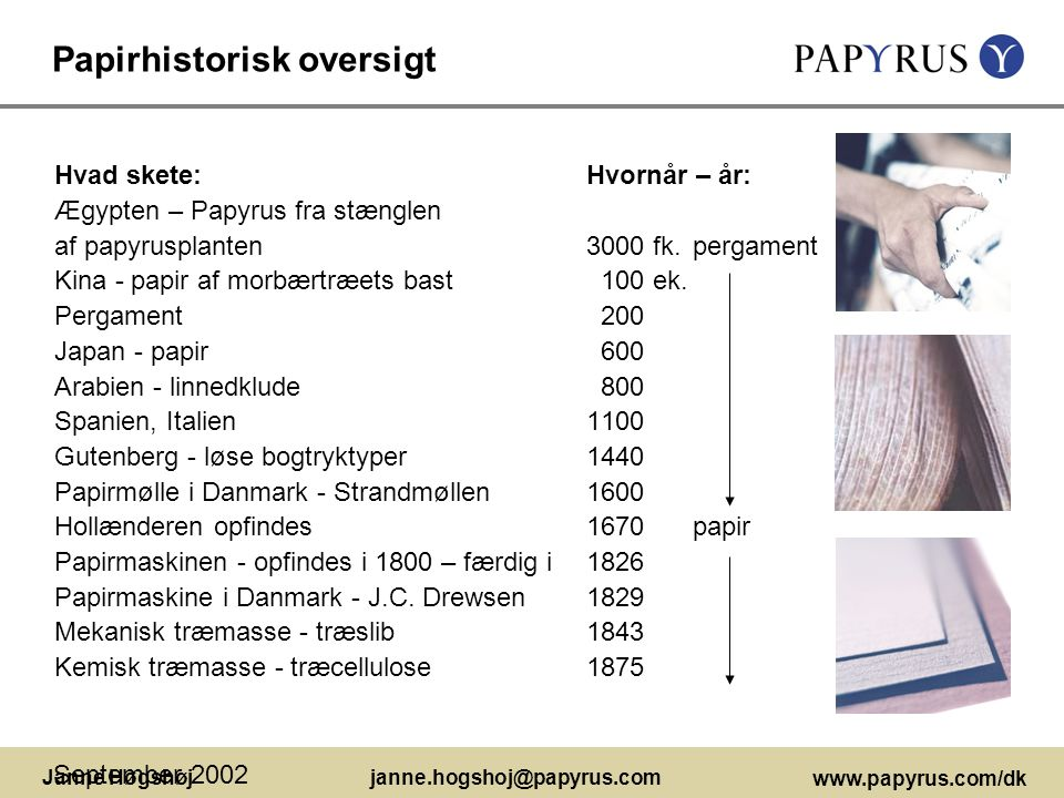 Papirhistorisk oversigt