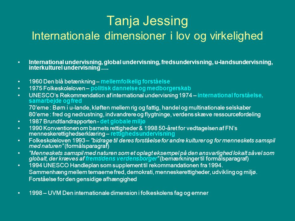 Tanja Jessing Internationale dimensioner i lov og virkelighed