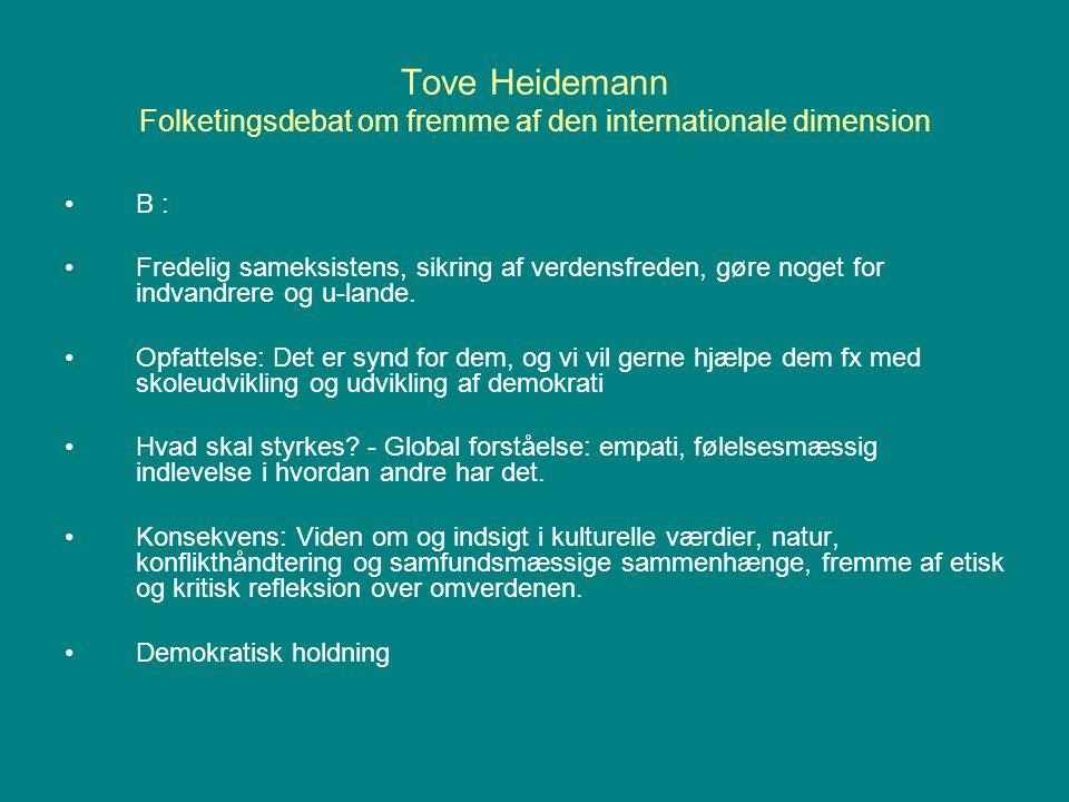 Tove Heidemann Folketingsdebat om fremme af den internationale dimension