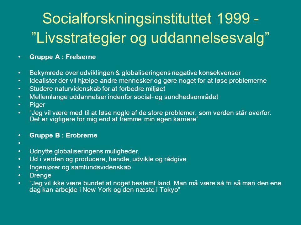 Socialforskningsinstituttet 1999 - Livsstrategier og uddannelsesvalg