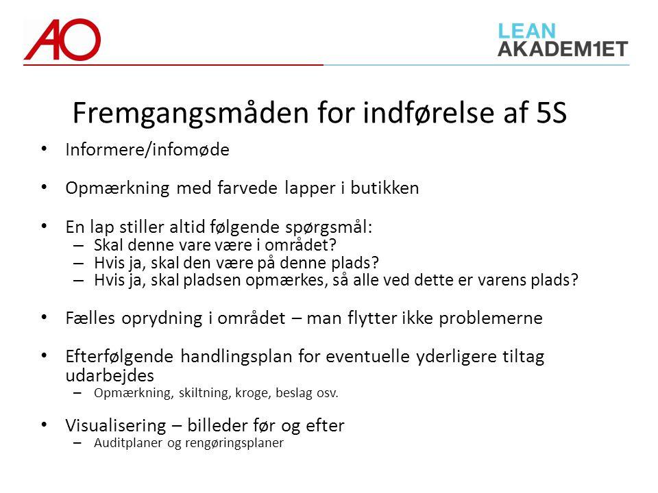 Fremgangsmåden for indførelse af 5S
