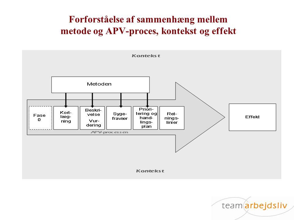 Forforståelse af sammenhæng mellem metode og APV-proces, kontekst og effekt