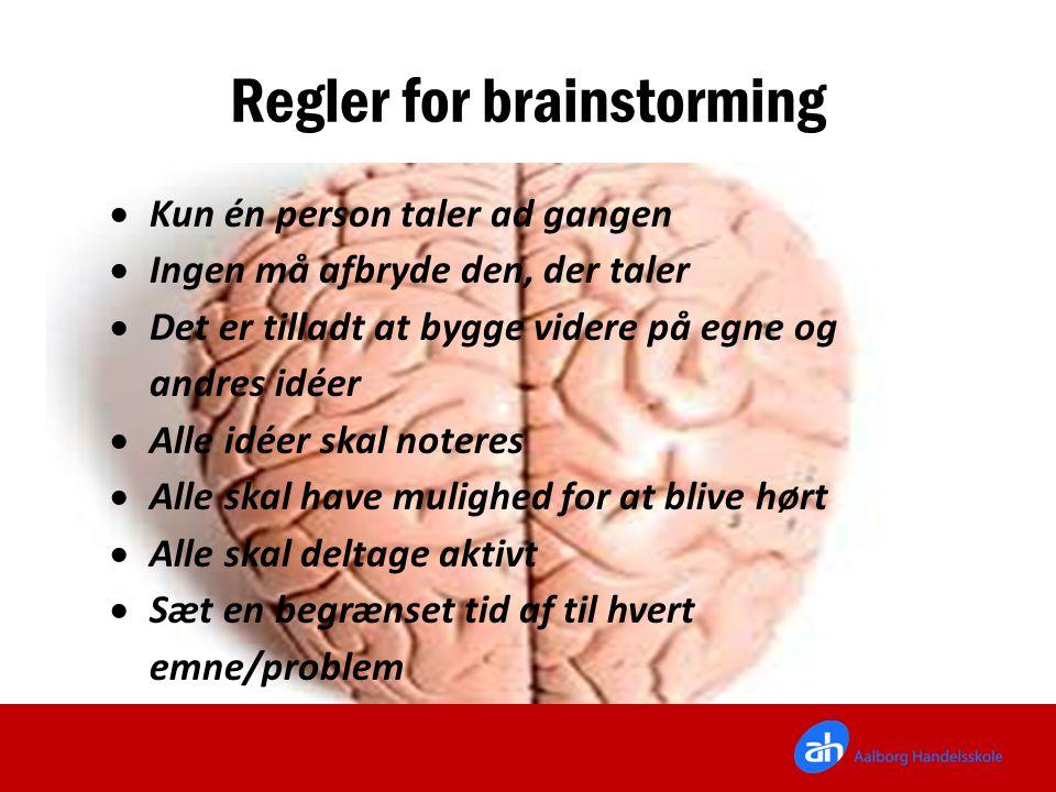 Regler for brainstorming