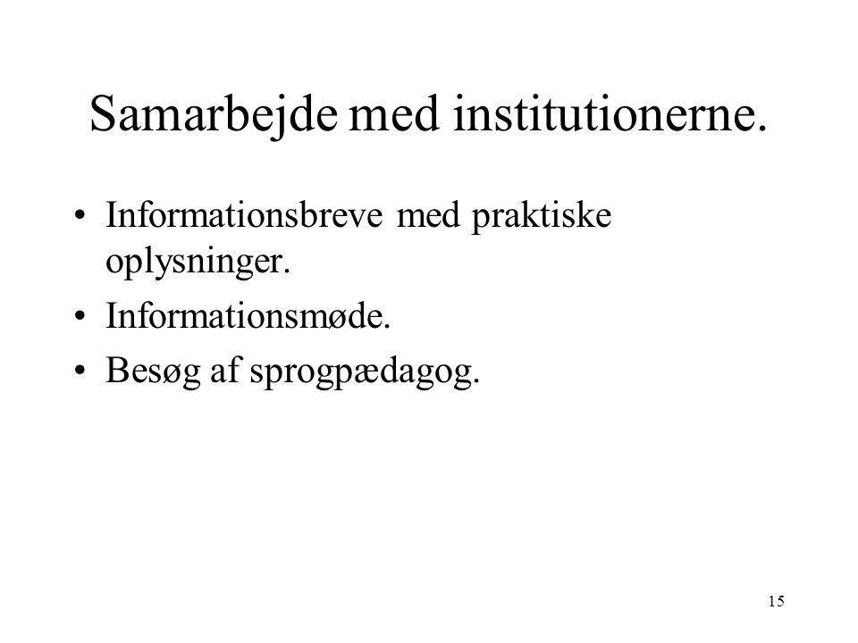 Samarbejde med institutionerne.
