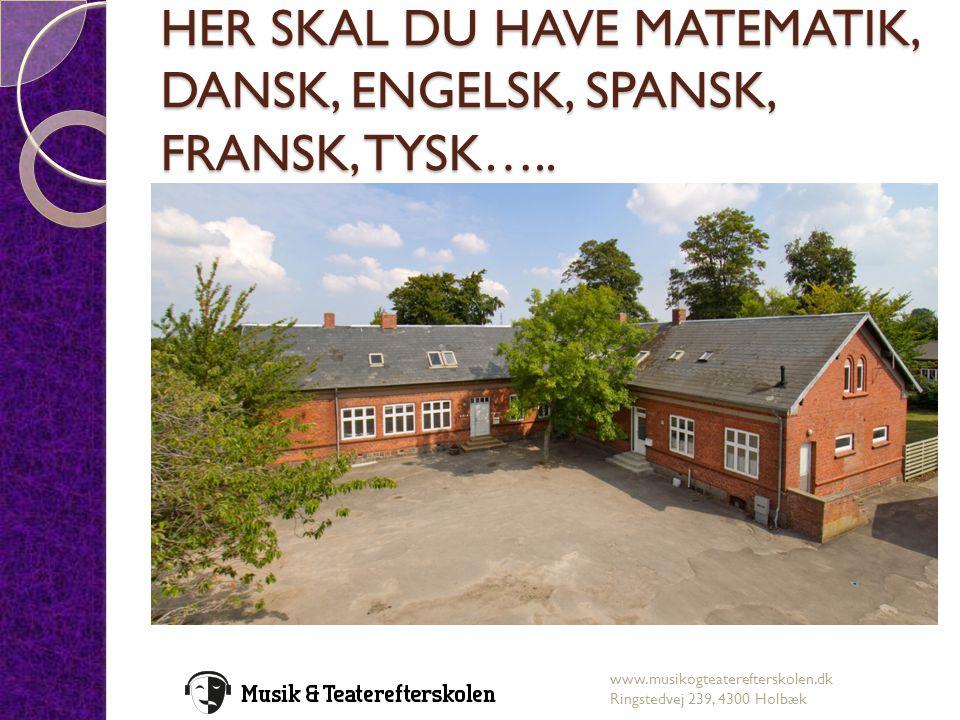 HER SKAL DU HAVE MATEMATIK, DANSK, ENGELSK, SPANSK, FRANSK, TYSK…..