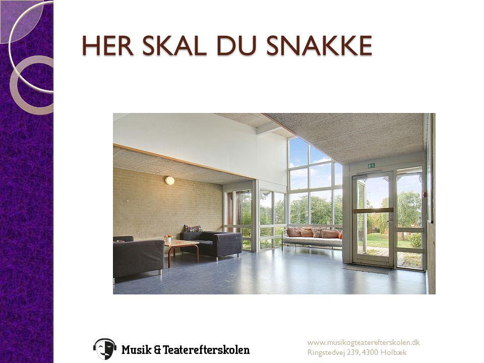 HER SKAL DU SNAKKE www.musikogteaterefterskolen.dk Ringstedvej 239, 4300 Holbæk