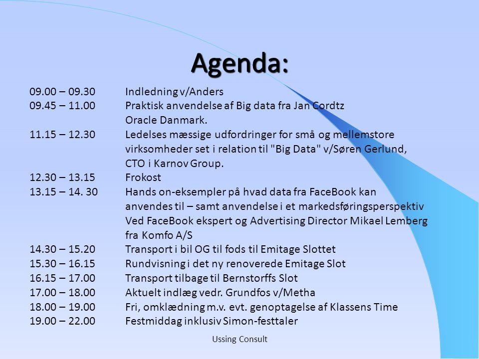 Agenda: 09.00 – 09.30 Indledning v/Anders