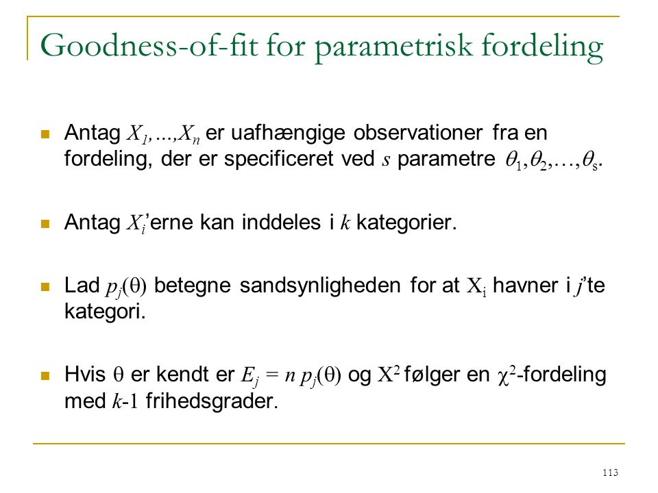 Goodness-of-fit for parametrisk fordeling