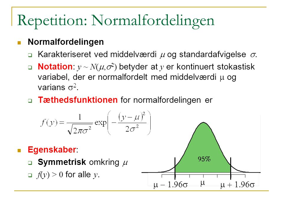Repetition: Normalfordelingen