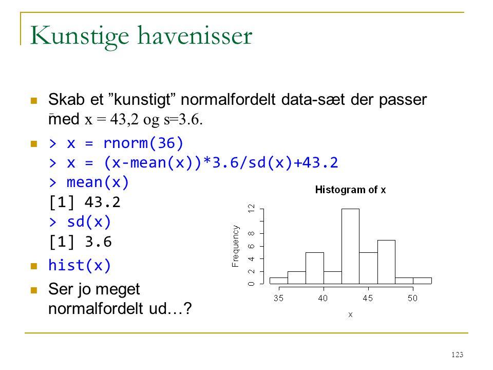 Kunstige havenisser Skab et kunstigt normalfordelt data-sæt der passer med x = 43,2 og s=3.6.