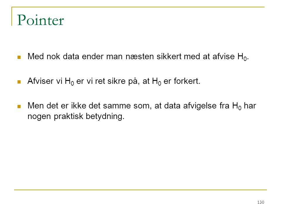 Pointer Med nok data ender man næsten sikkert med at afvise H0.