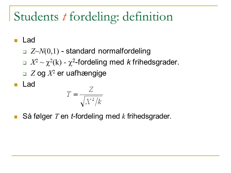 Students t fordeling: definition