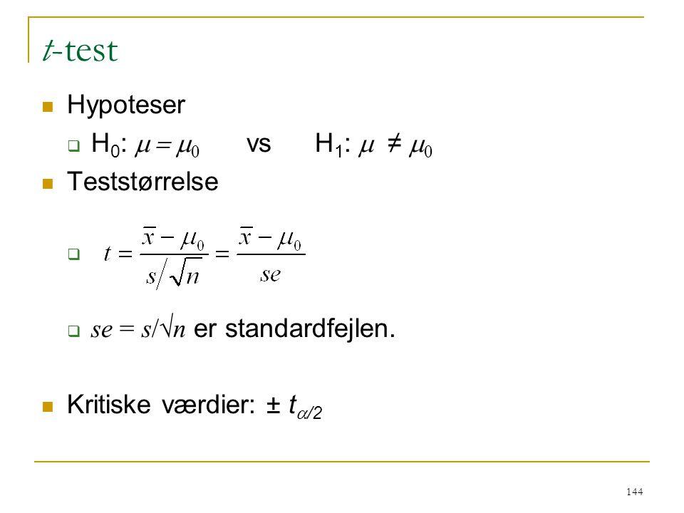 t-test Hypoteser H0: m = m0 vs H1: m ≠ m0 Teststørrelse