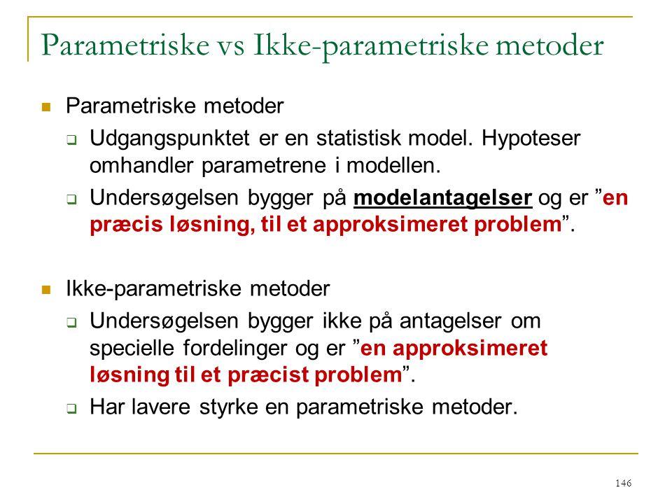 Parametriske vs Ikke-parametriske metoder