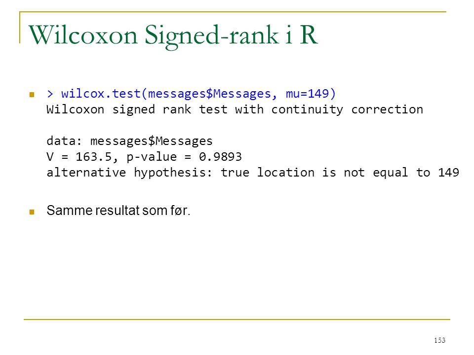 Wilcoxon Signed-rank i R